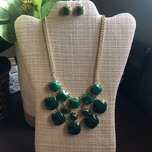 Green Statement Necklace with Earrings